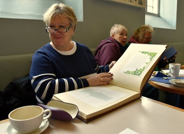 After tree planting grandparents were able to write their messages in a special book which is kept at Dyrham Park.